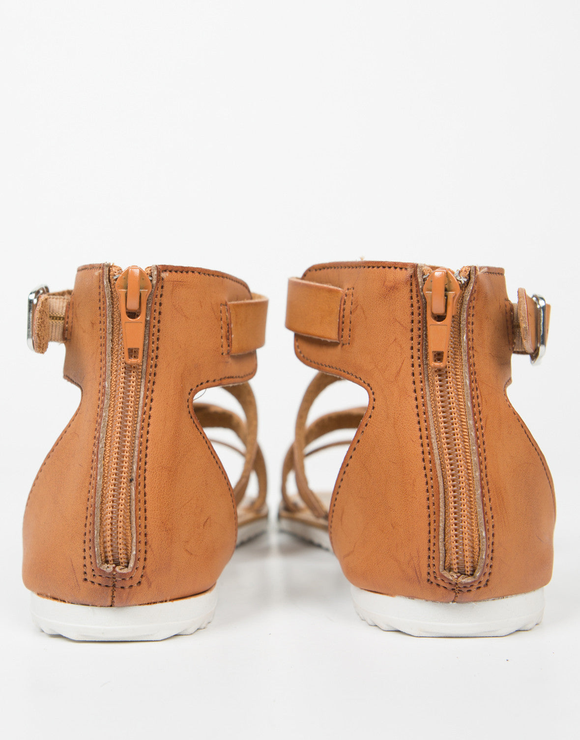 Back View of Strappy Contrast Buckled Sandals