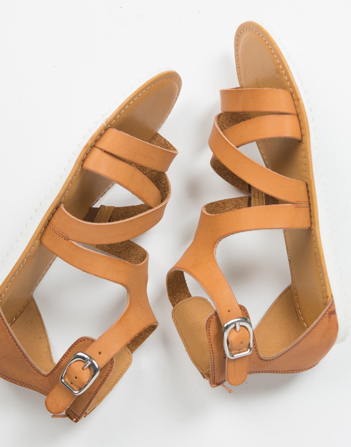 Top View of Strappy Contrast Buckled Sandals