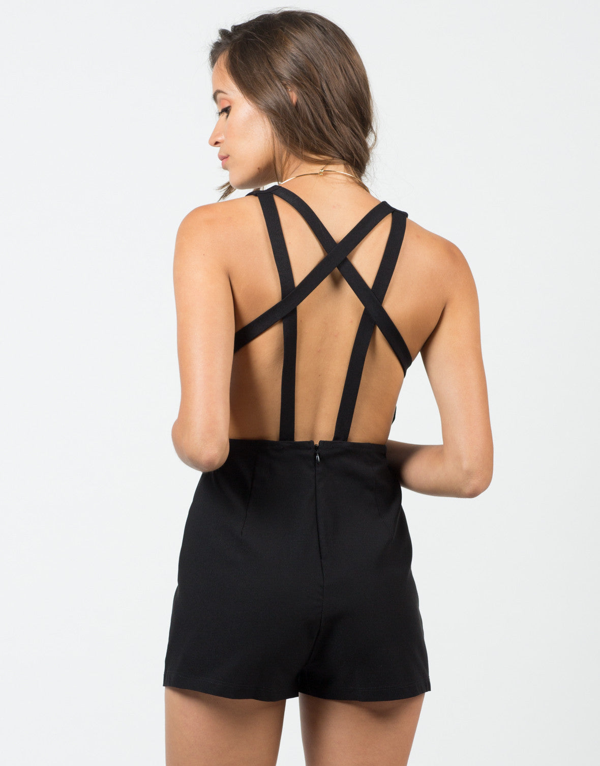 Back View of Strappy Deep Sweetheart Romper