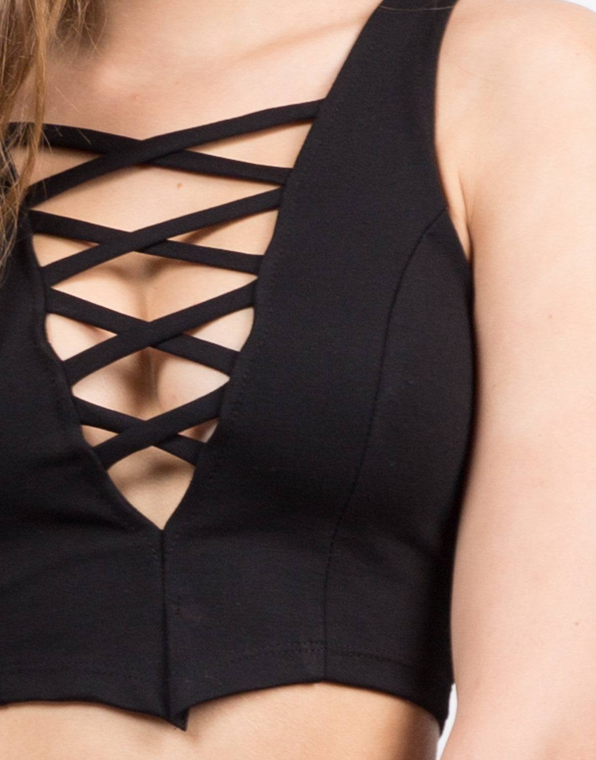 Detail of Strappy Dip Crop Top