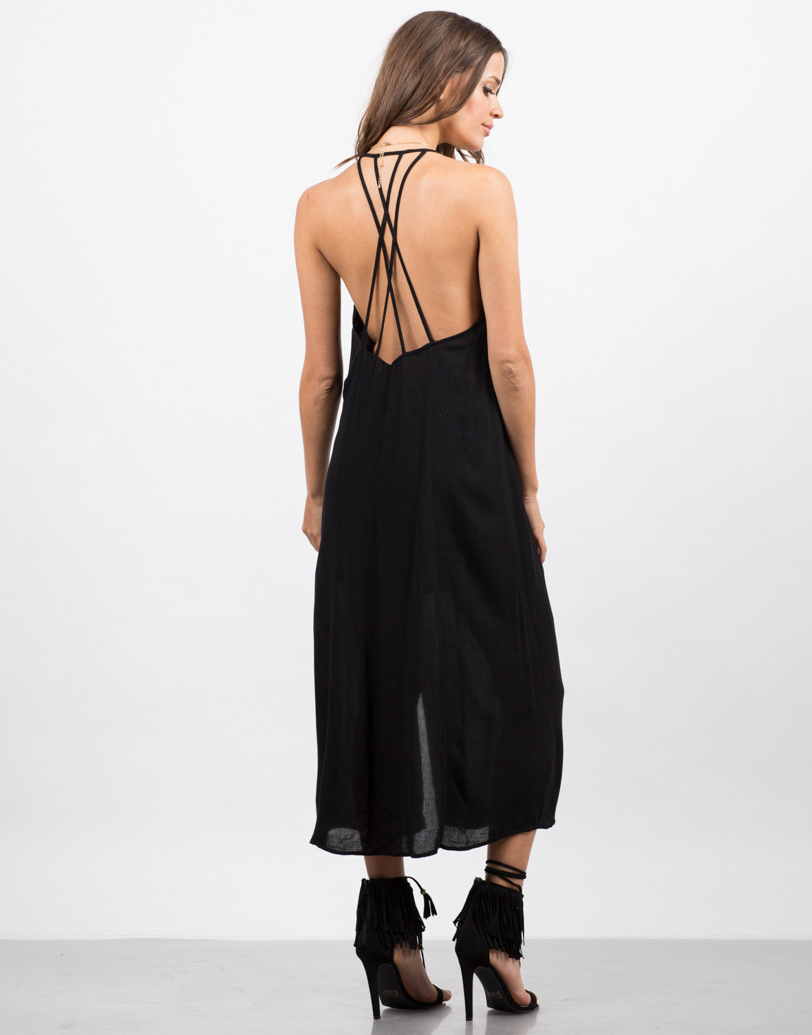 Back View of Strappy Double Slit Dress
