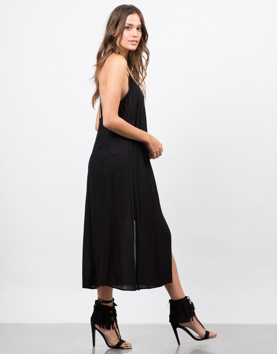 Side View of Strappy Double Slit Dress