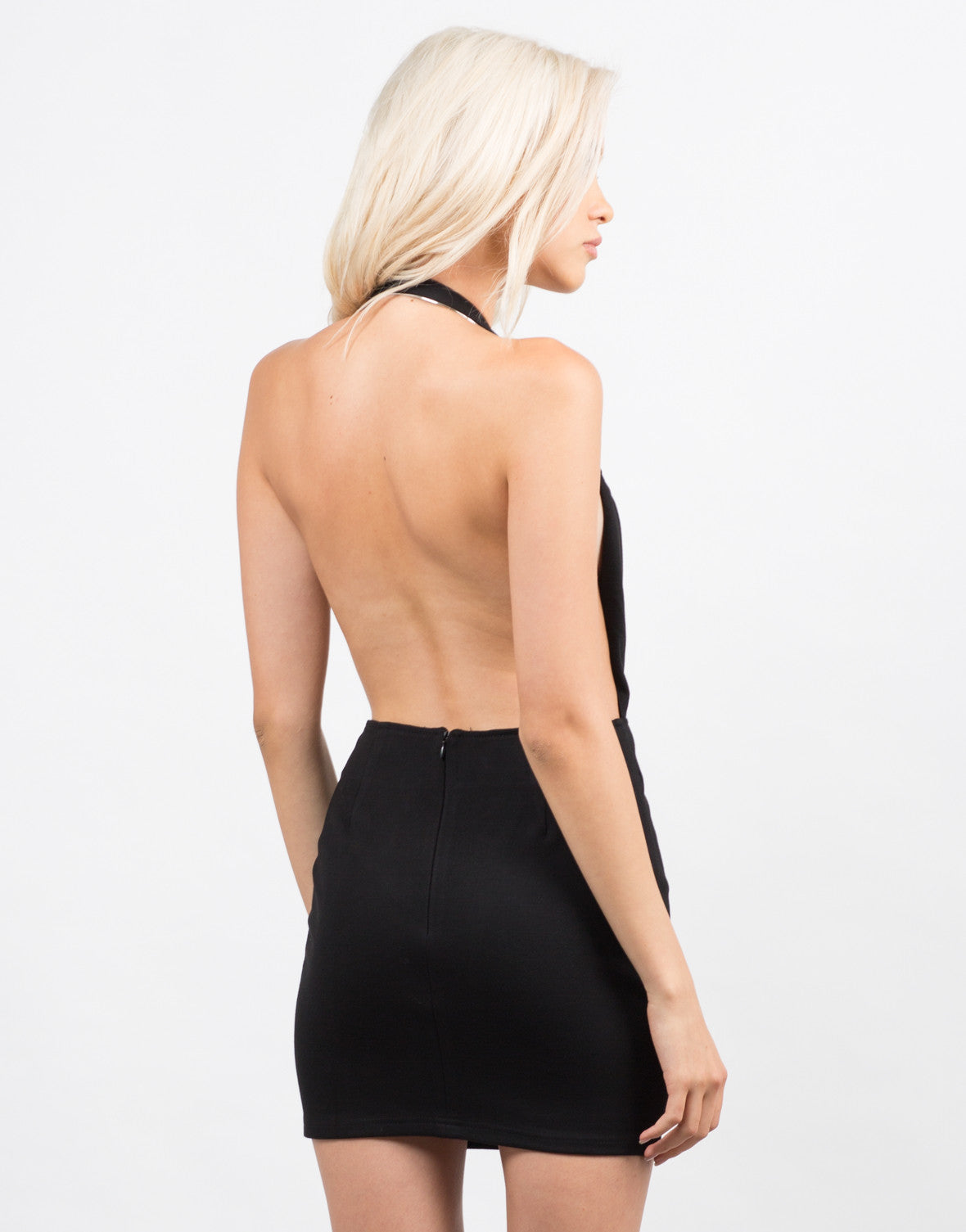 Side View of Strappy Back Halter Dress