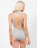 Back View of Strappy High Neck Bodysuit