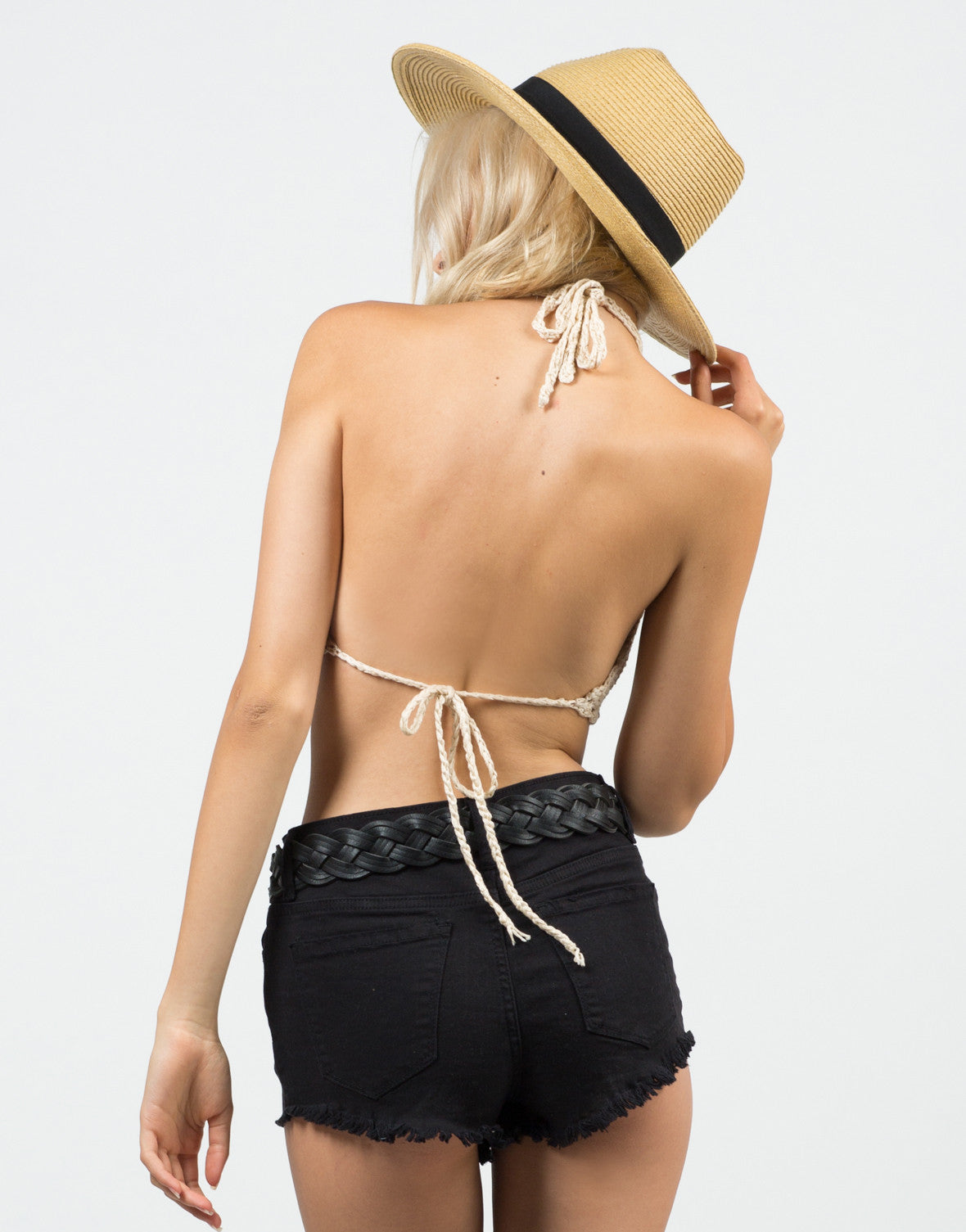 Back View of Strappy Knitted Bralette