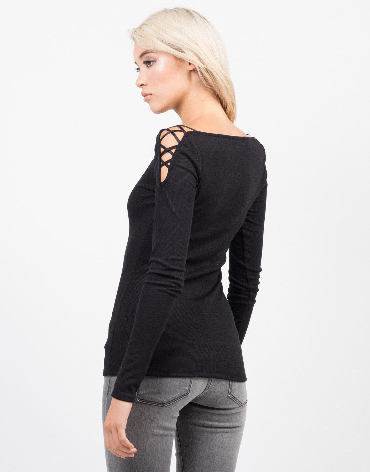 Back View of Strappy Long Sleeve Ribbed Top