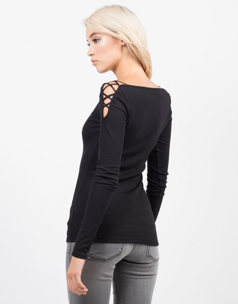 Strappy Long Sleeve Ribbed Top - 2020AVE