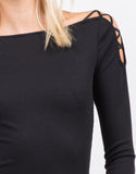 Detail of Strappy Long Sleeve Ribbed Top