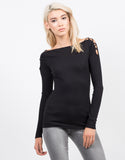 Front View of Strappy Long Sleeve Ribbed Top