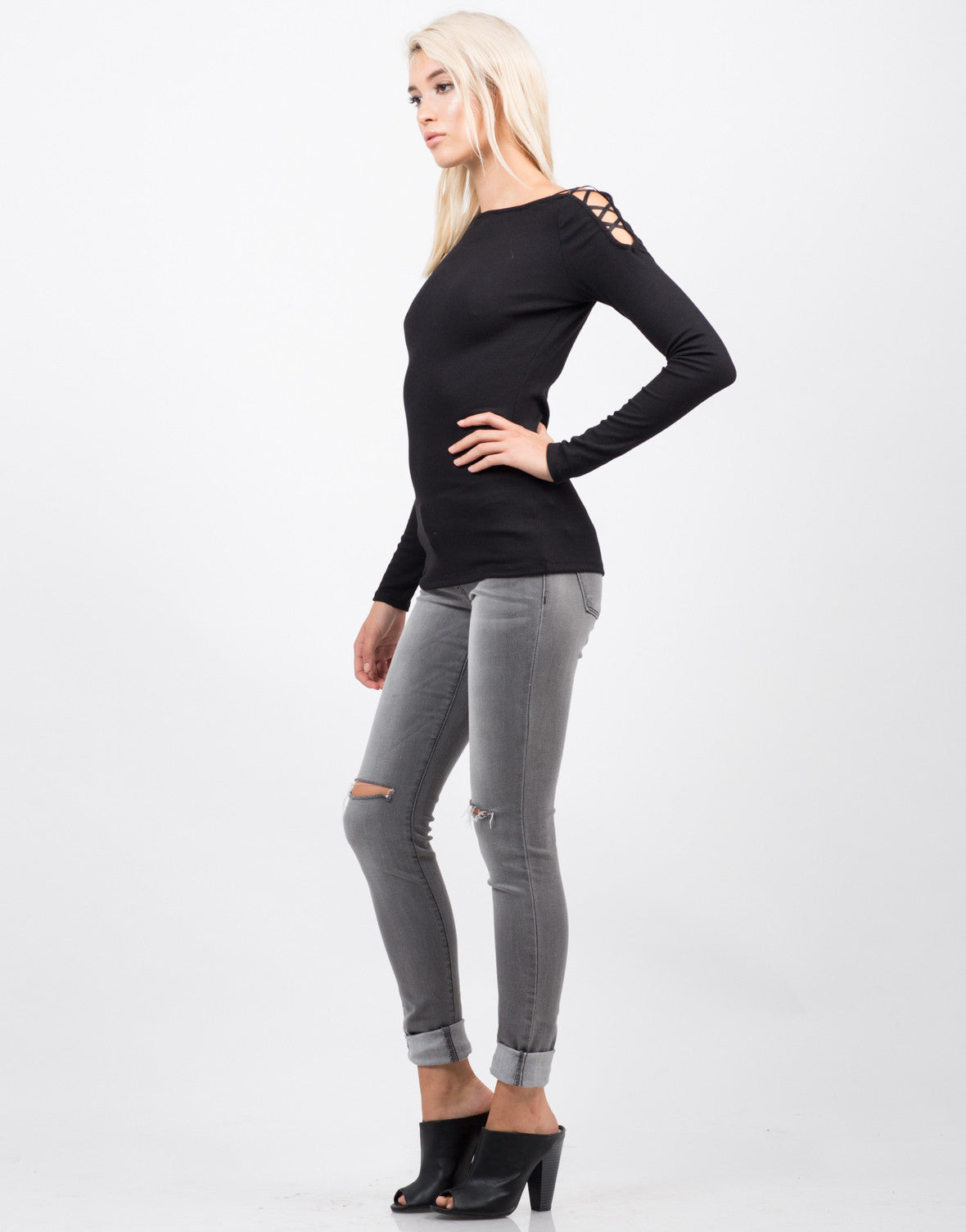 Side View of Strappy Long Sleeve Ribbed Top