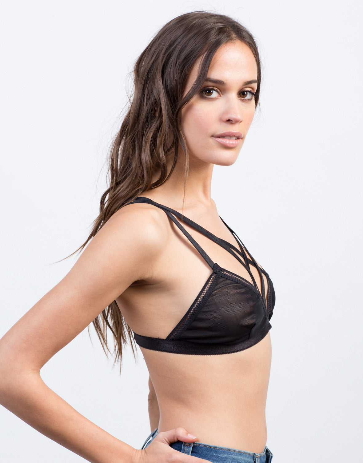 Side View of Strappy Mesh Bralette
