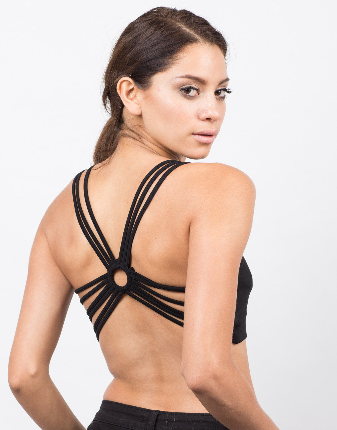 Back View of Front View of Strappy Racerback Sports Bra