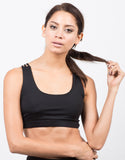 Front View of Strappy Racerback Sports Bra