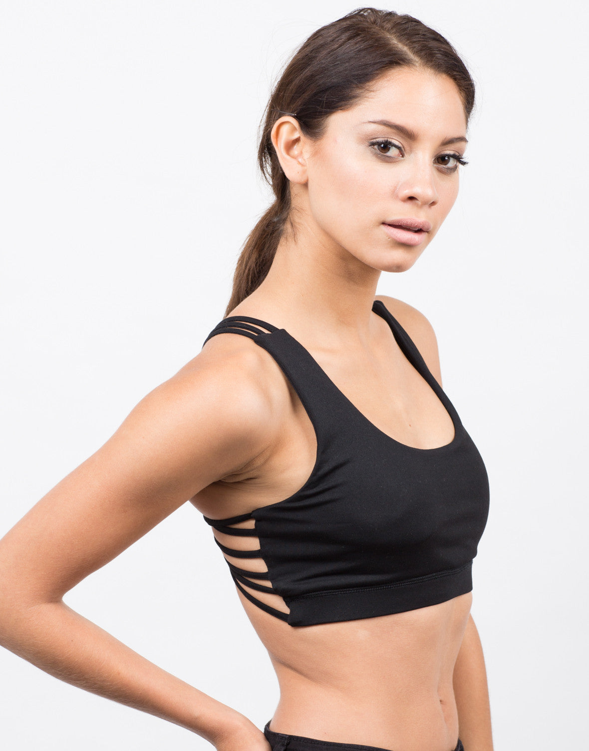 Side View of Strappy Racerback Sports Bra