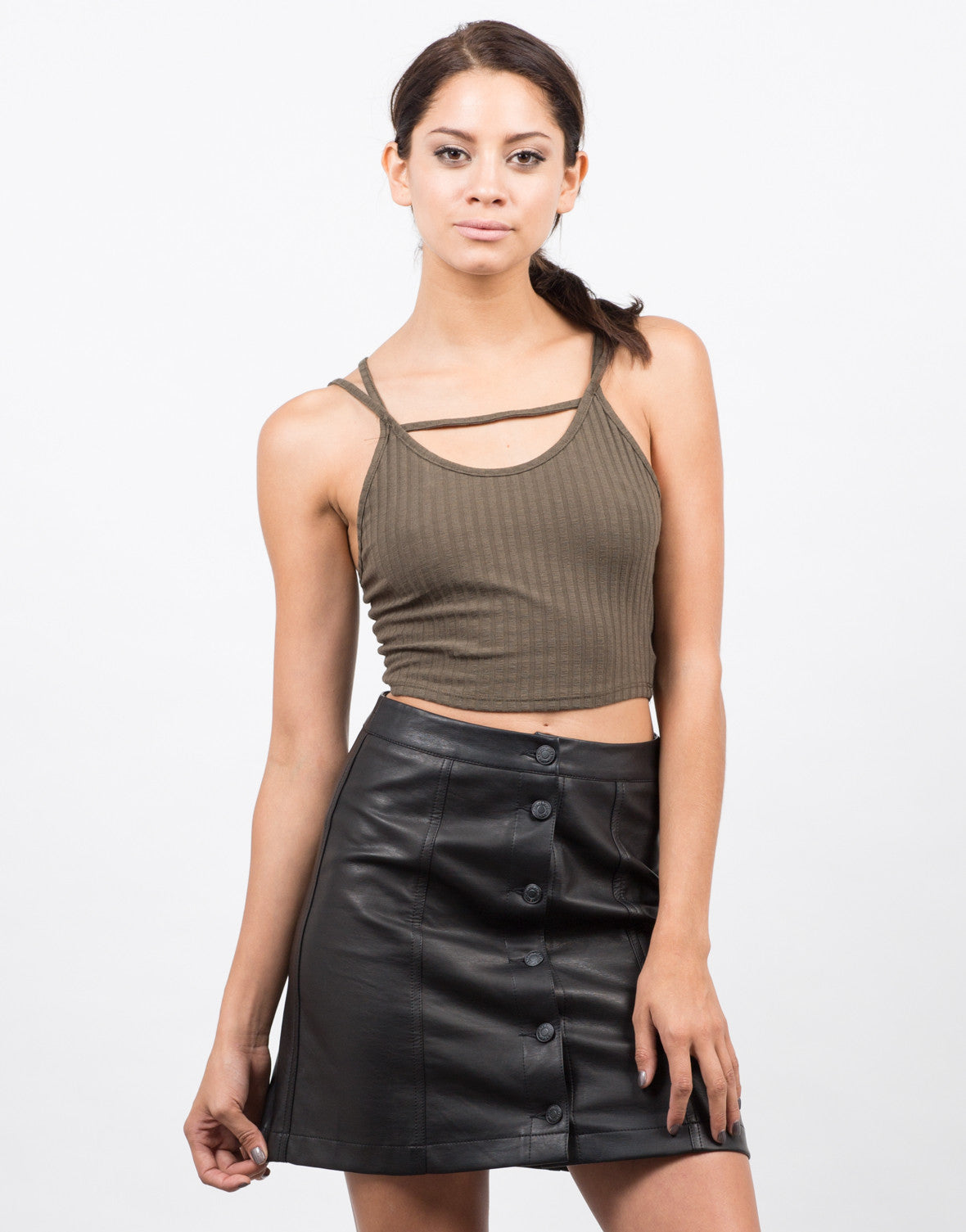 Strappy Ribbed Crop Top - 2020AVE