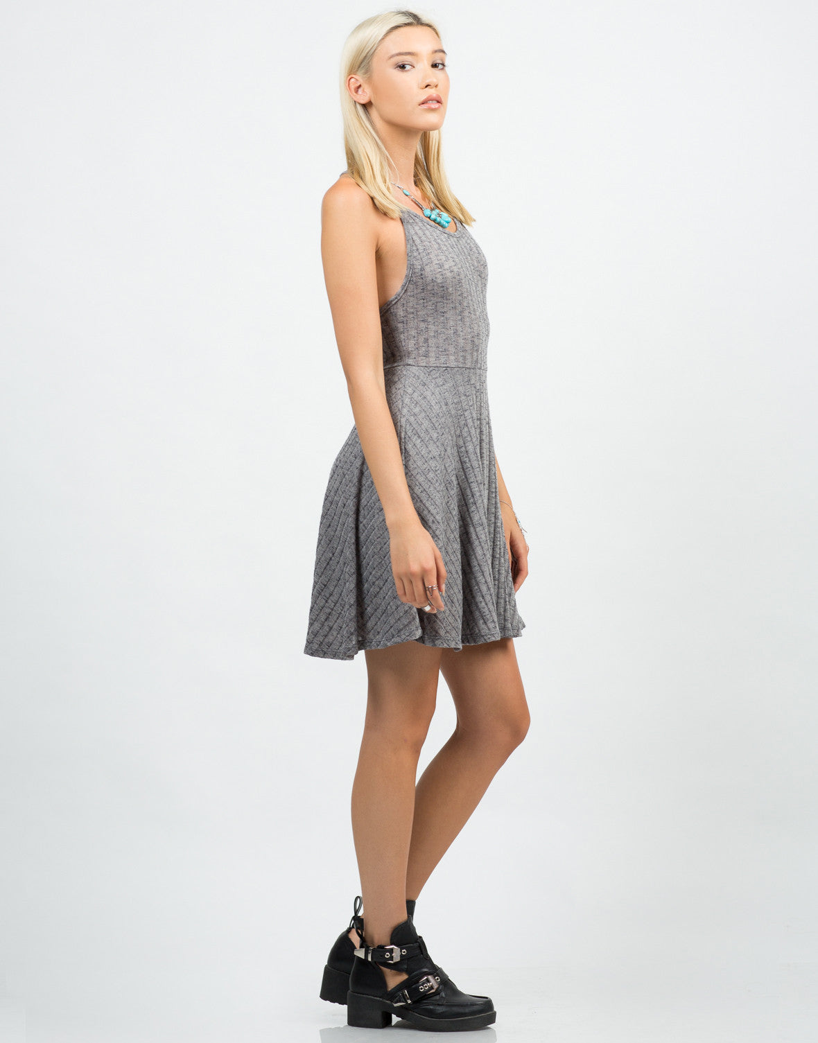 Side View of Strappy Ribbed Skater Dress