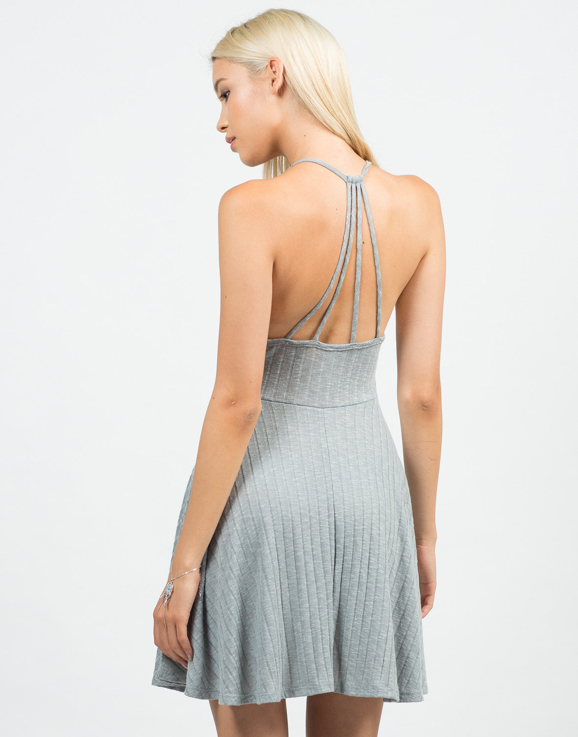 Back View of Strappy Ribbed Skater Dress