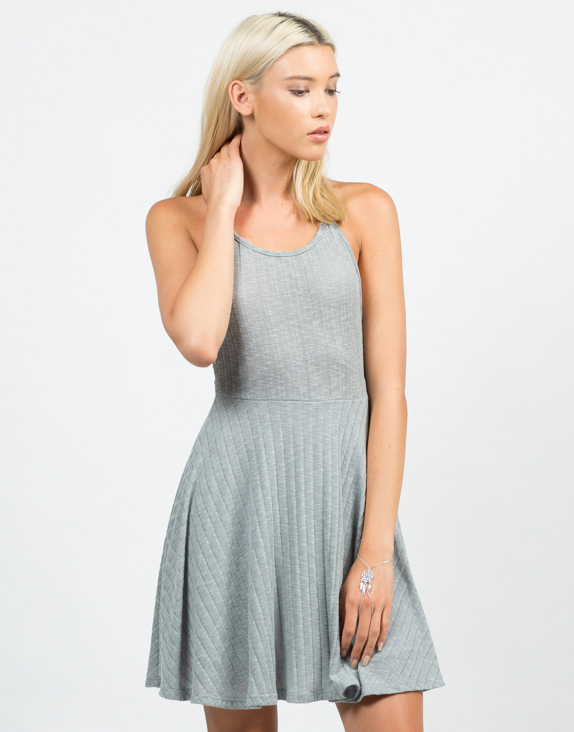 Front View of Strappy Ribbed Skater Dress