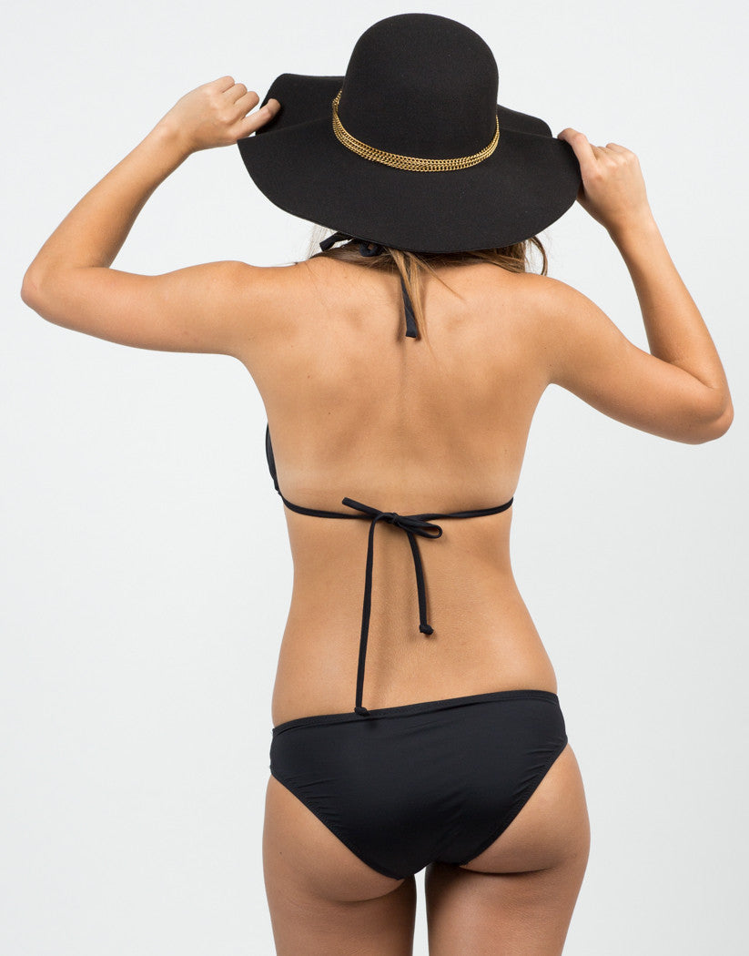 Back View of Strappy Solid Bikini Set