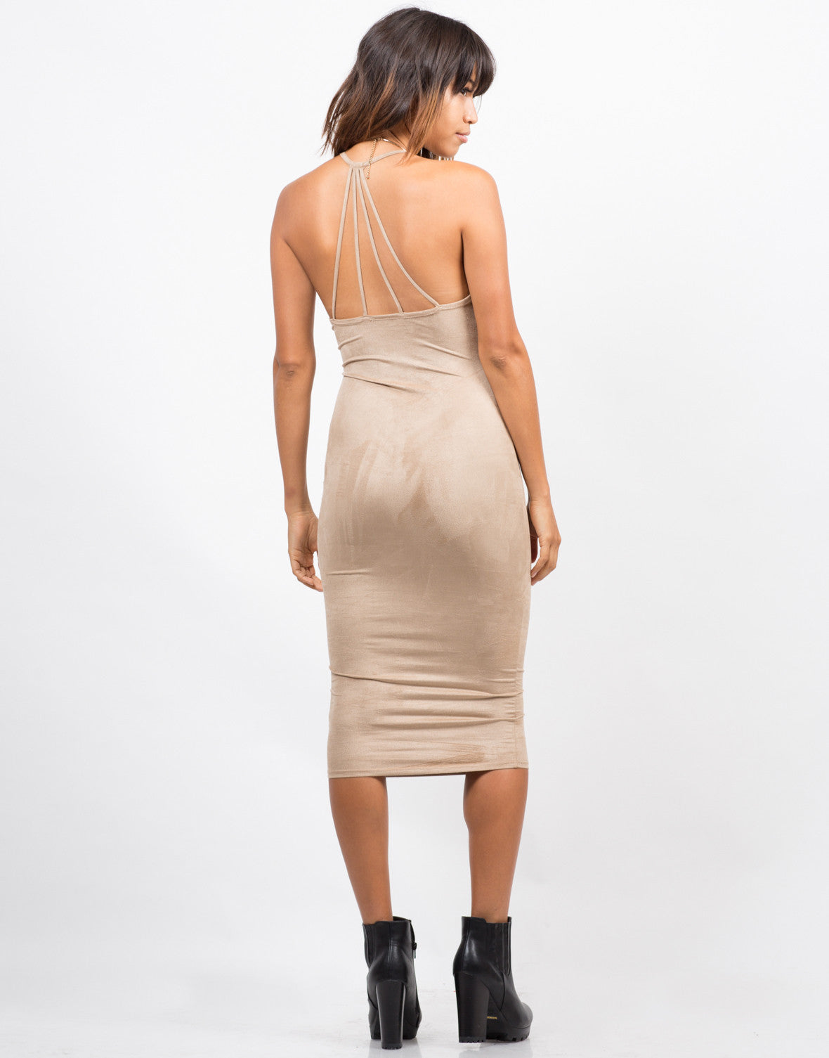 Back View of Strappy Suede Midi Dress