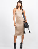 Front View of Strappy Suede Midi Dress