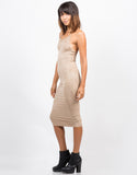 Side View of Strappy Suede Midi Dress