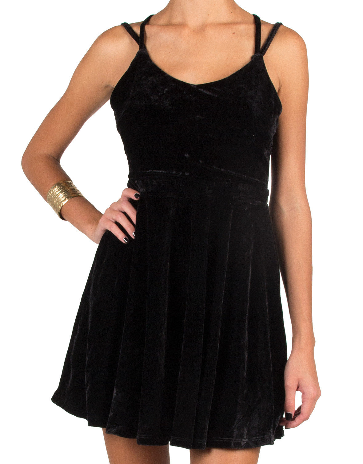 Strappy Velvet Dress - Black
