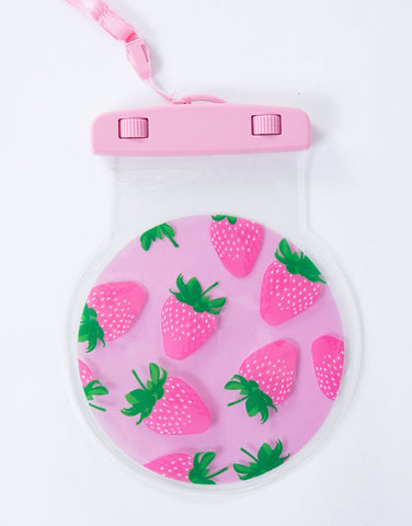 Pink Strawberry Water Resistant Case - Front View