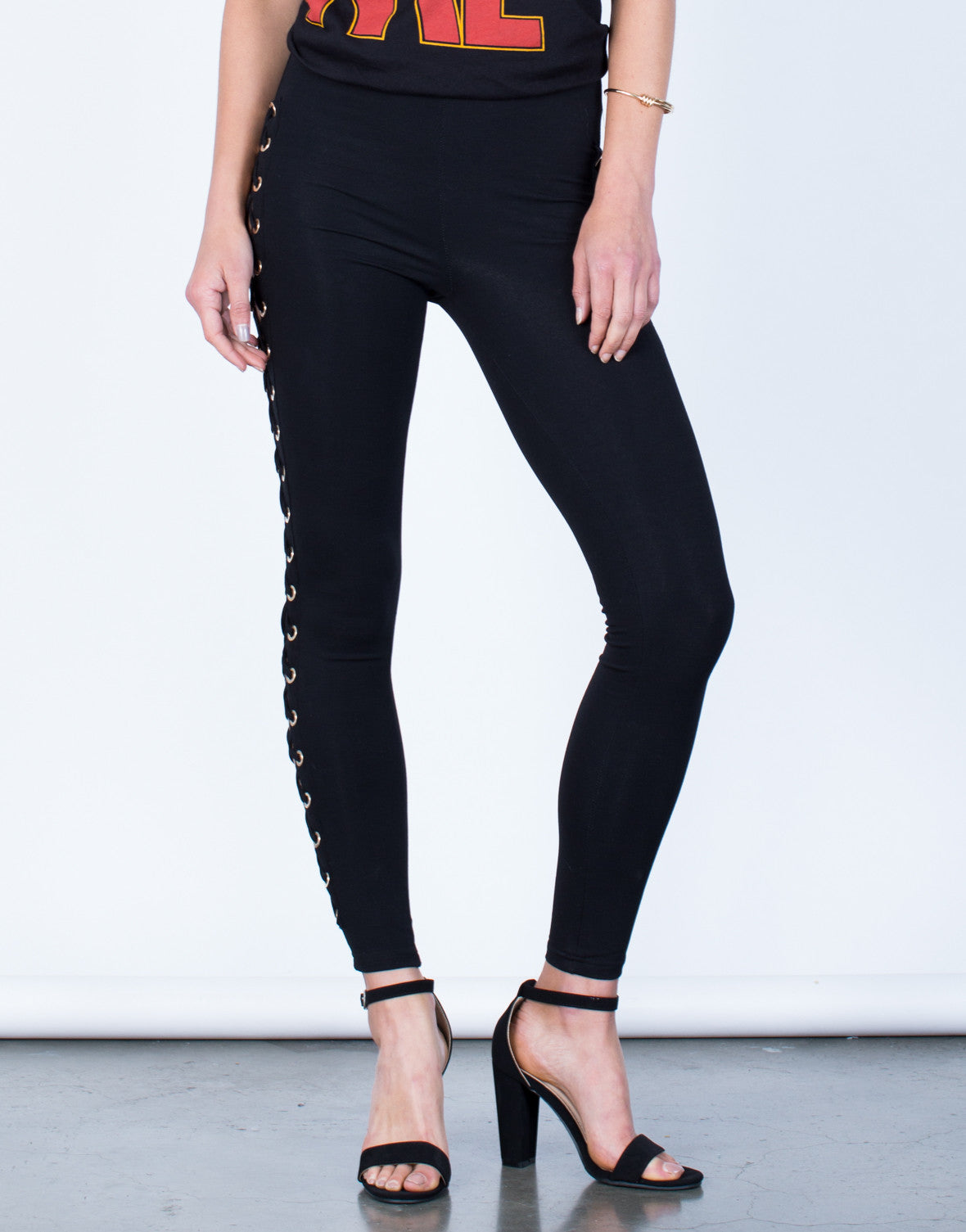 Front View of Stretchy Lace-Up Leggings