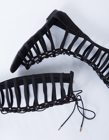 Stretchy Tall Lace-Up Sandals