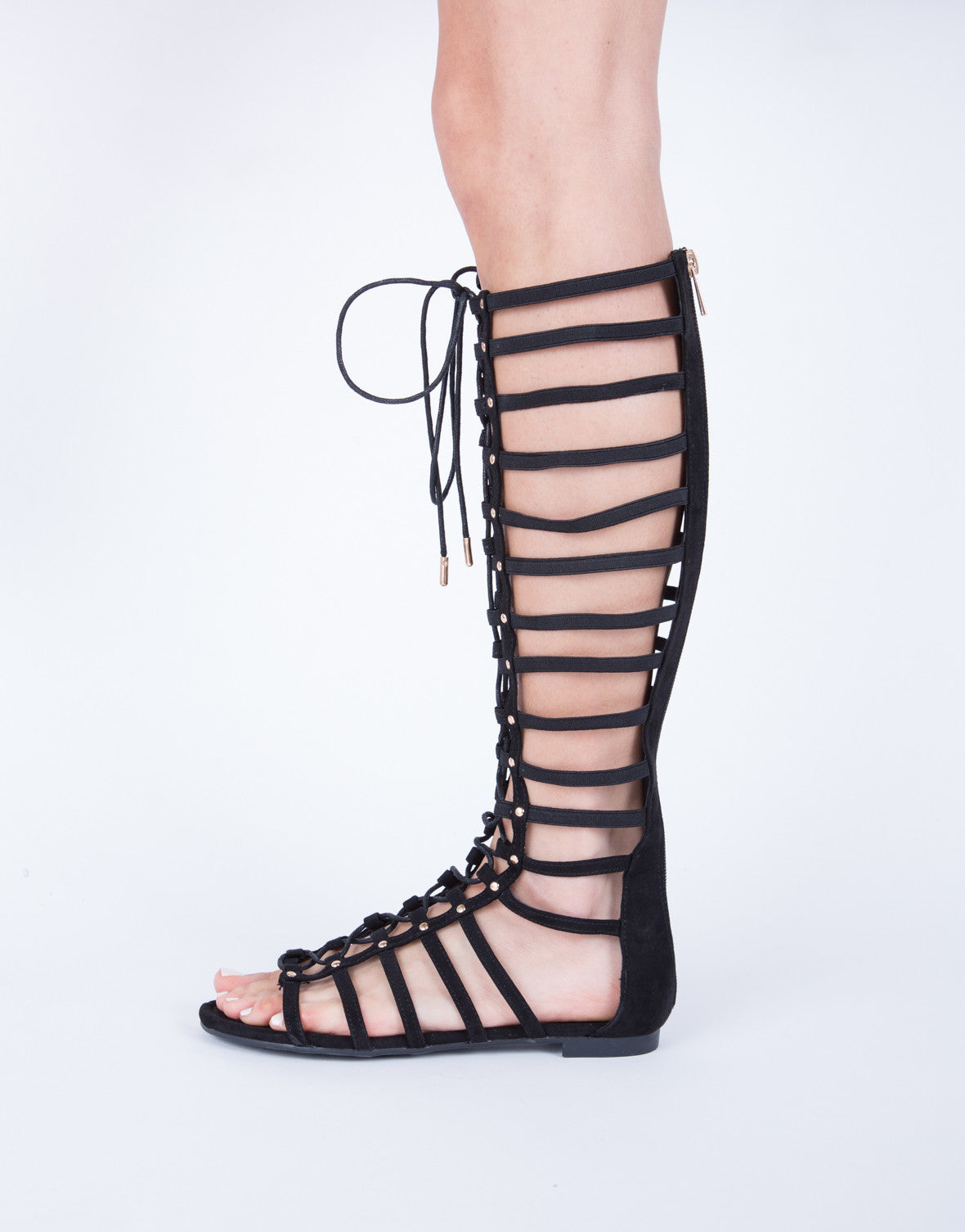 56f45325311a Stretchy Tall Lace-Up Sandals - Black Gladiator Sandals - Studded ...