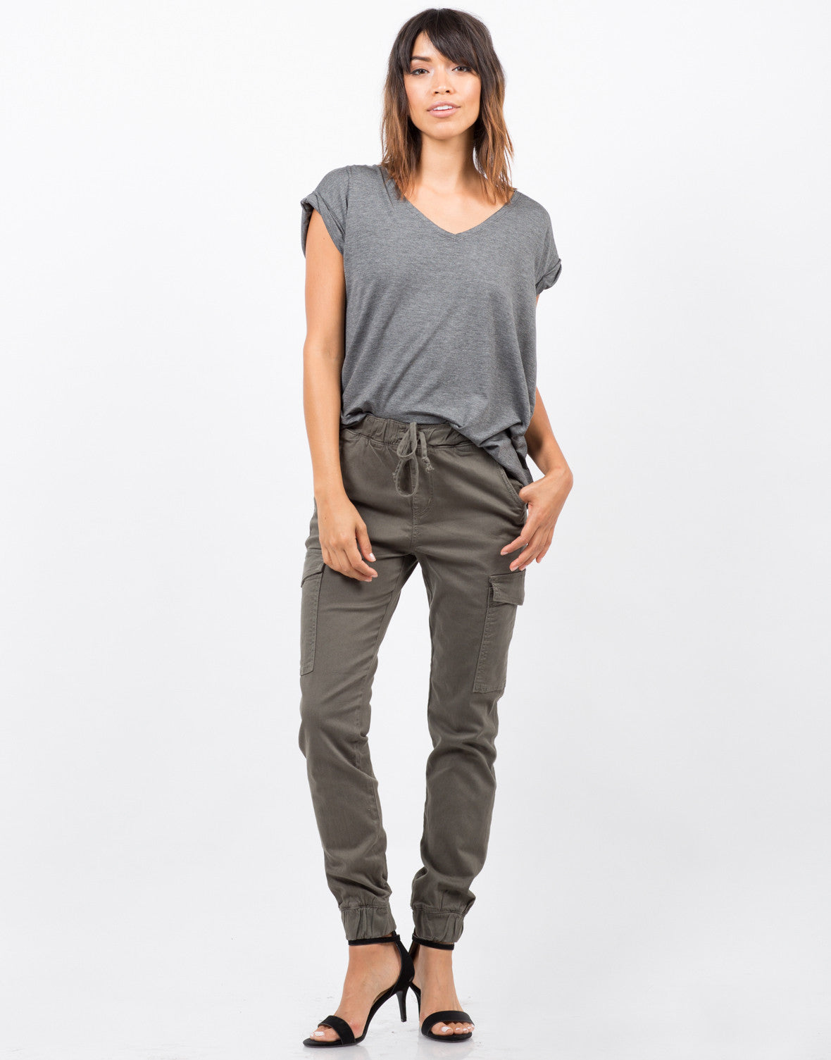 Front View of Stretchy Cargo Pants
