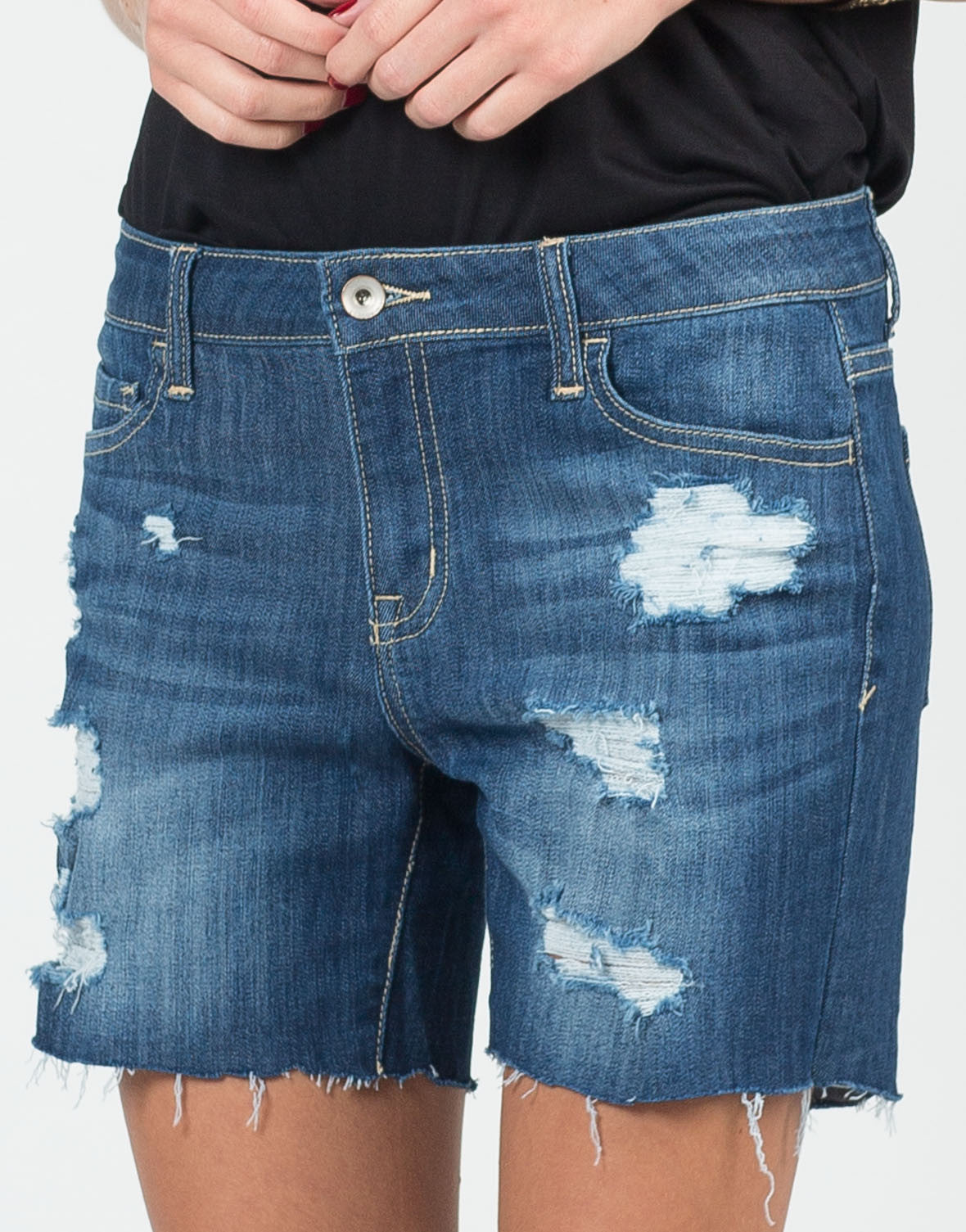 Detail of Stretchy Destroyed Bermuda Shorts