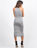 Back View of Stretchy Keyhole Midi Dress