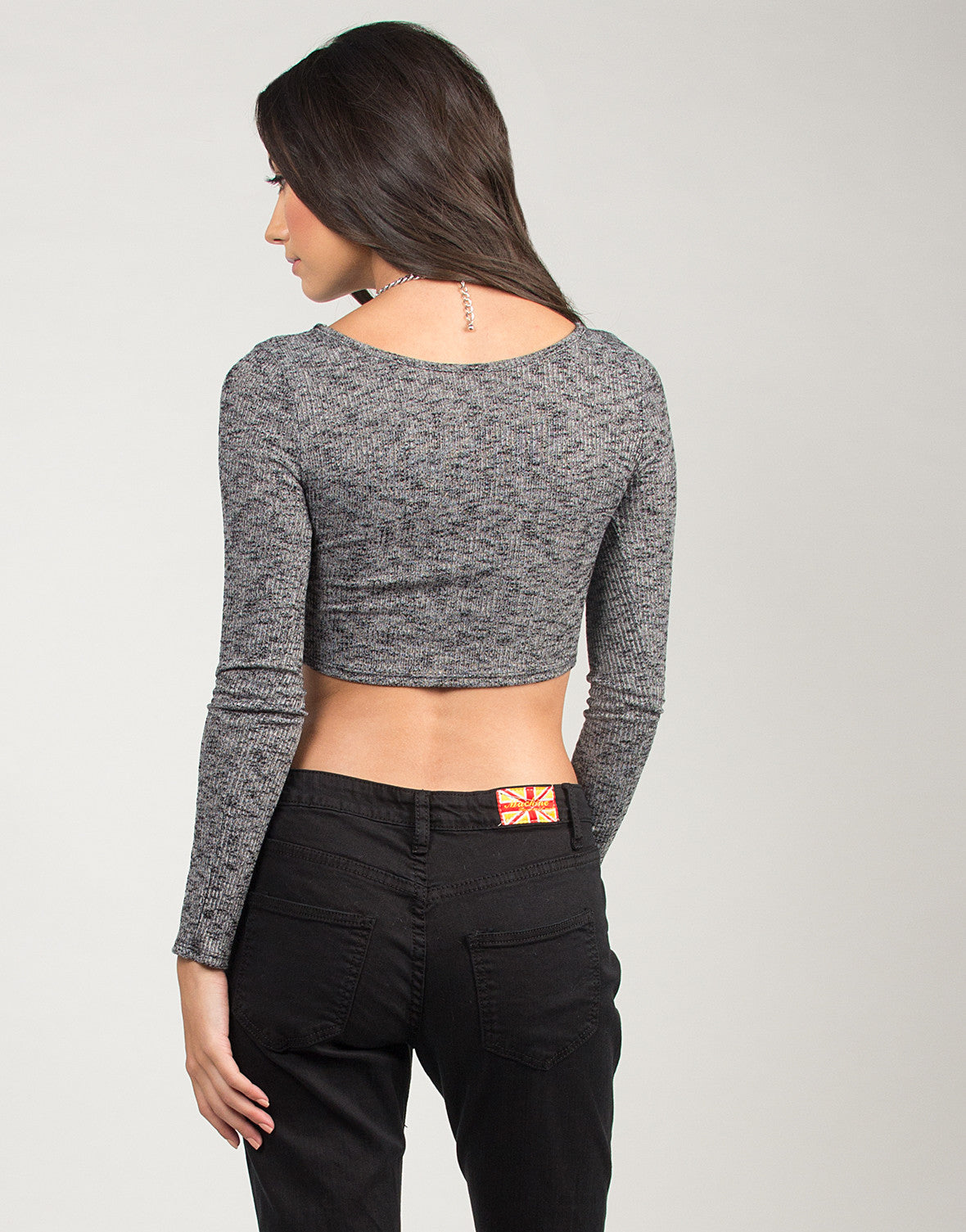 Stretchy Knitted Long Sleeve Crop Top - 2020AVE