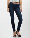 Front View of Stretchy Navy Jeggings