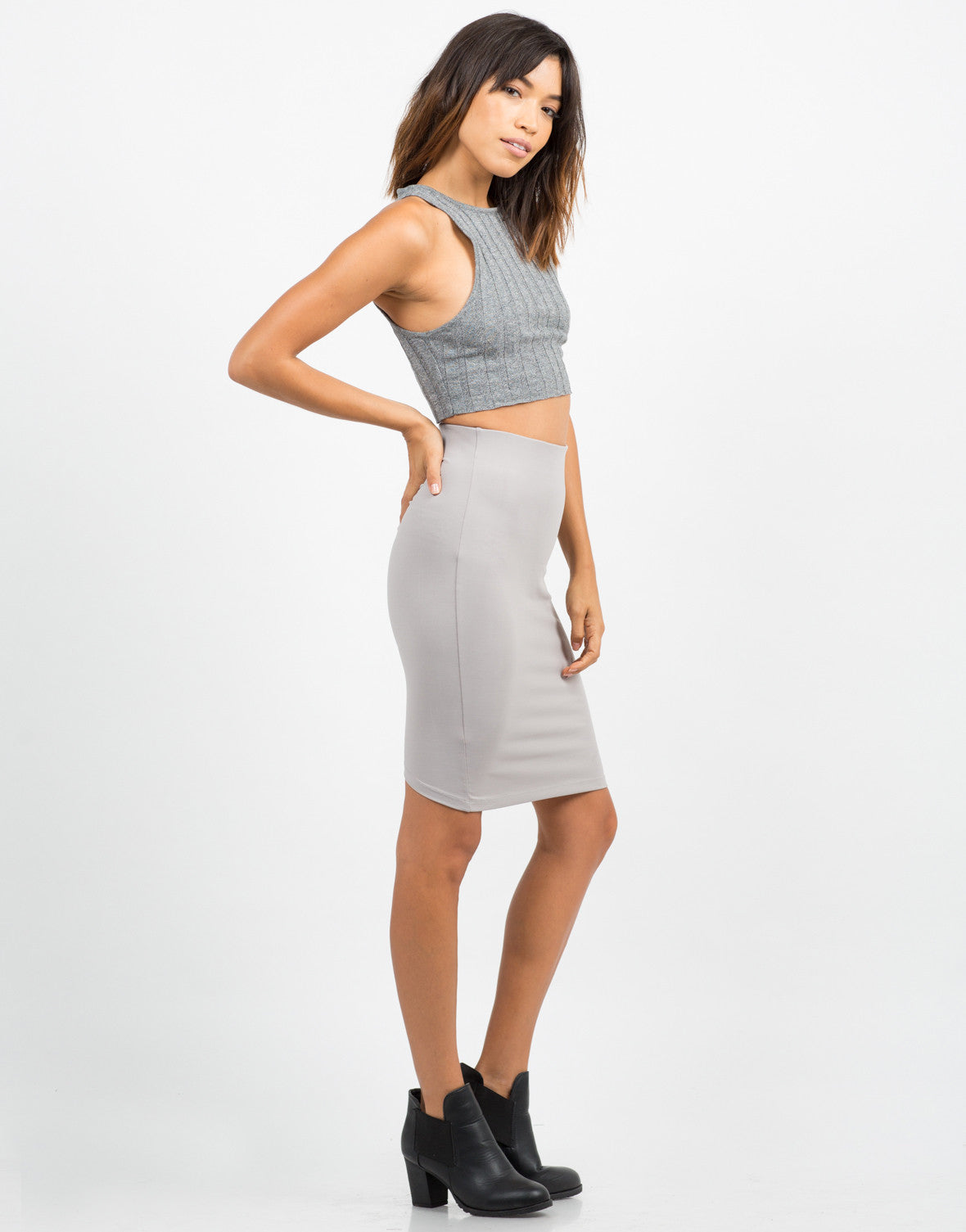 Side View of Stretchy Ribbed Crop Tank