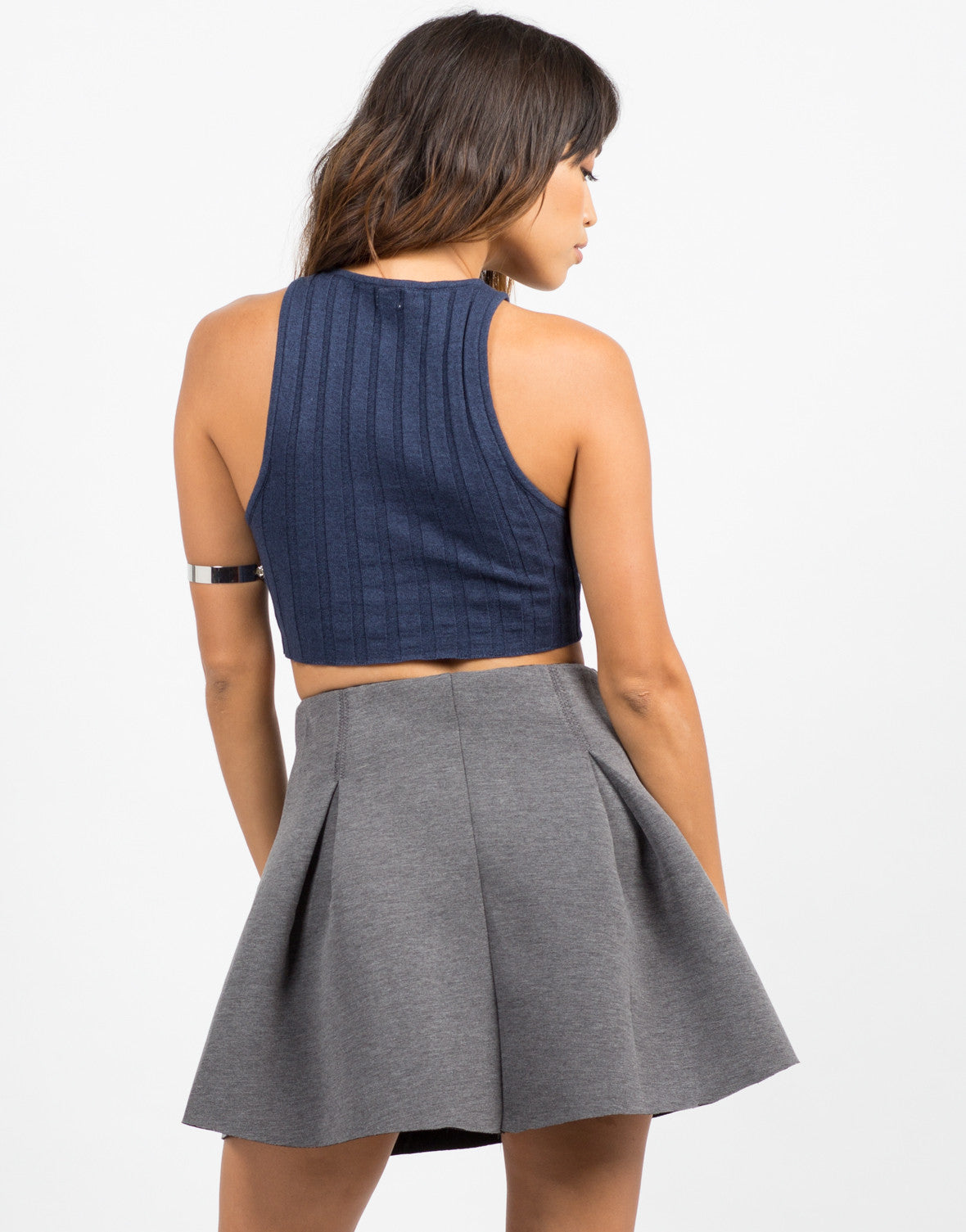 Back View of Stretchy Ribbed Crop Tank