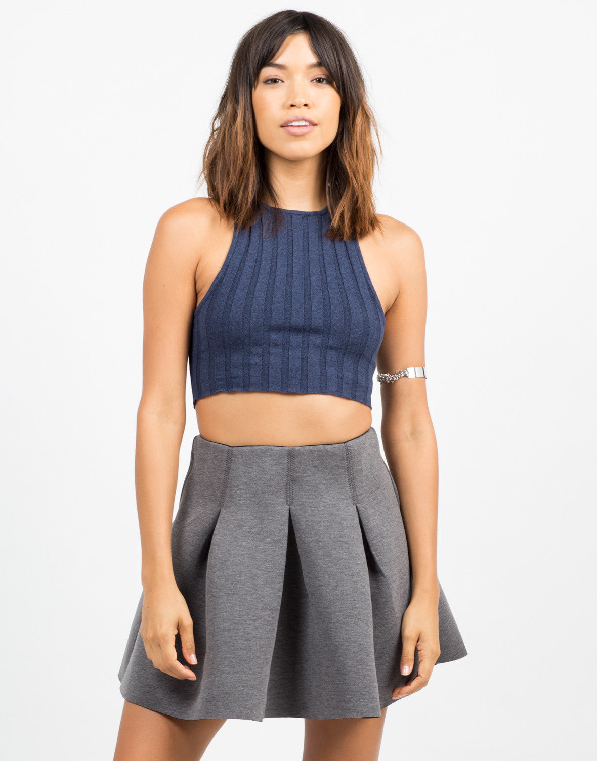 Front View of Stretchy Ribbed Crop Tank