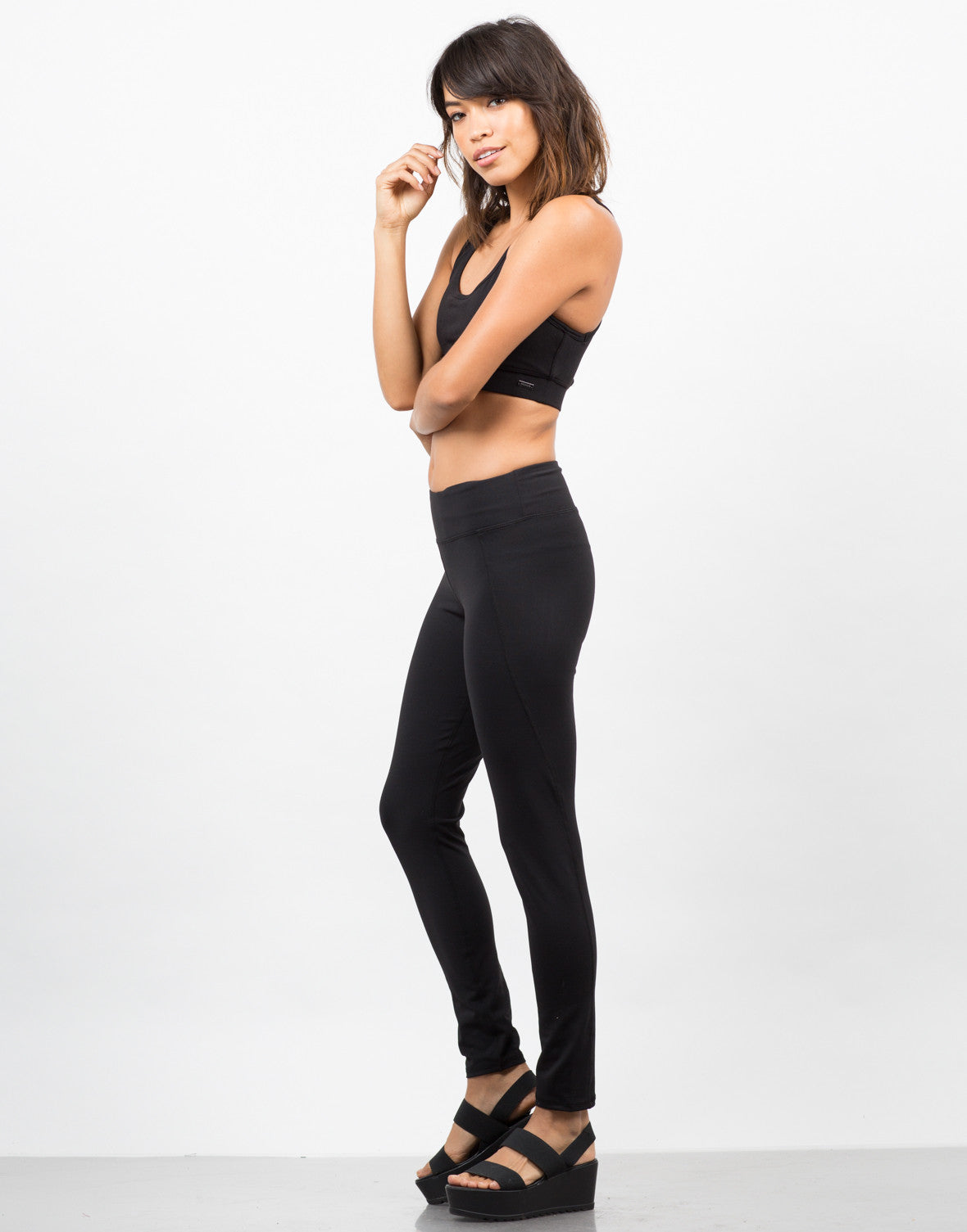 Side View of Stretchy Yoga Leggings