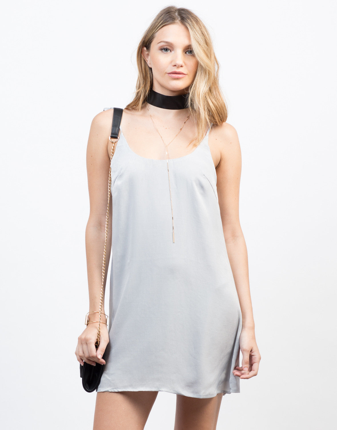 Front View of String Me Along Slip Dress