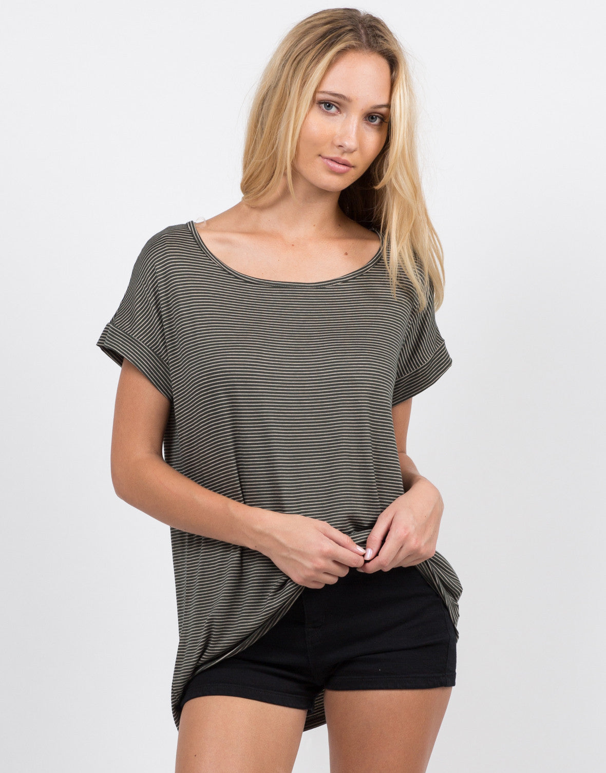 Stripe Contrast Sleeves Tee