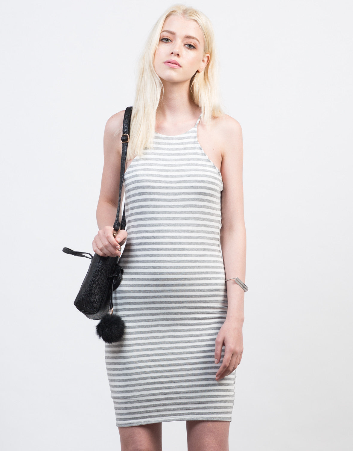 Front View of Striped Bodycon Cami Dress