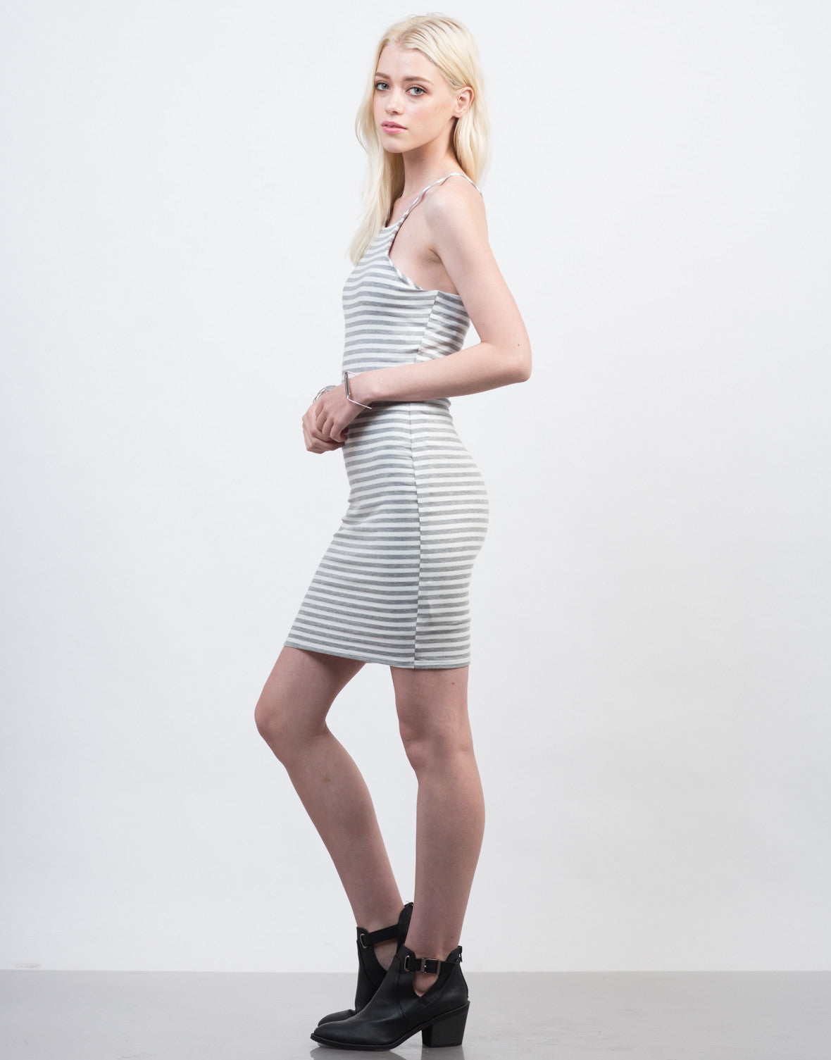 Side View of Striped Bodycon Cami Dress
