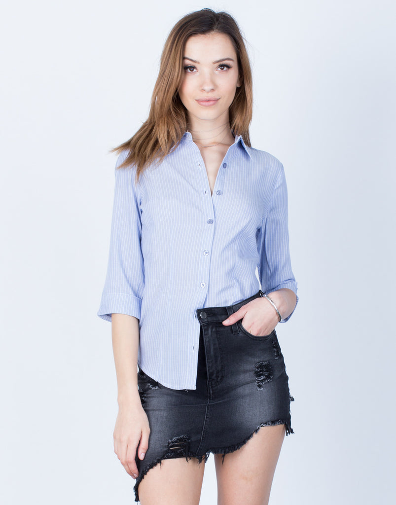 Front View of Striped Button Up Blouse