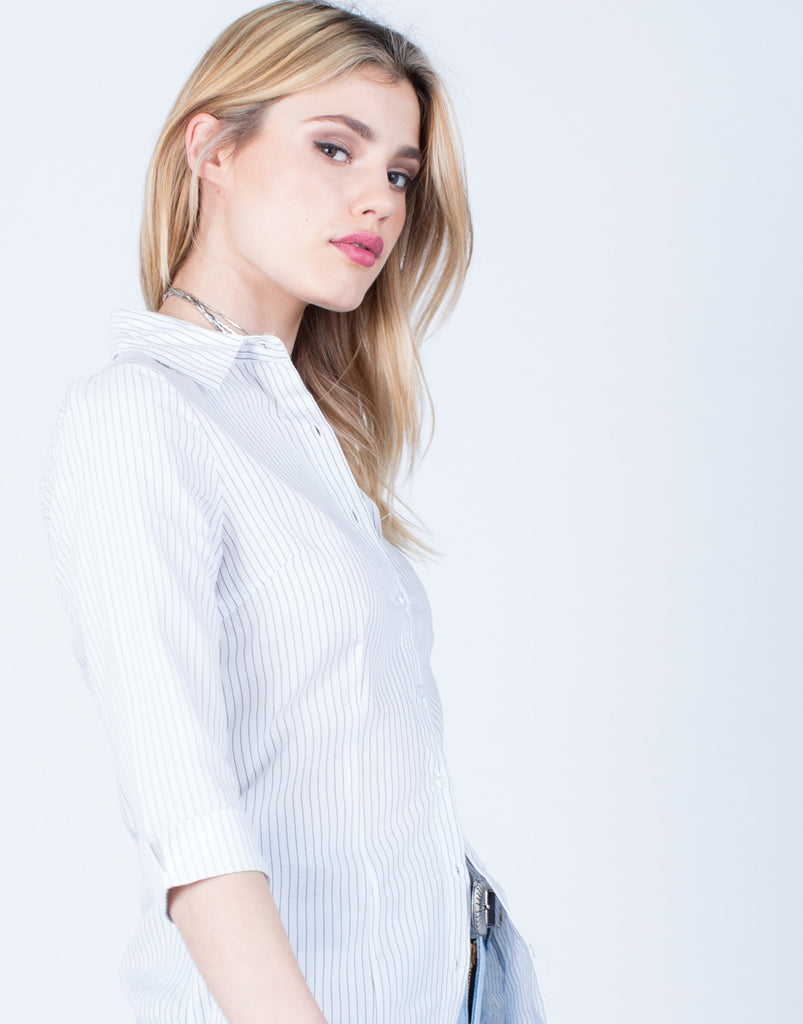 Detail of Striped Button Up Blouse