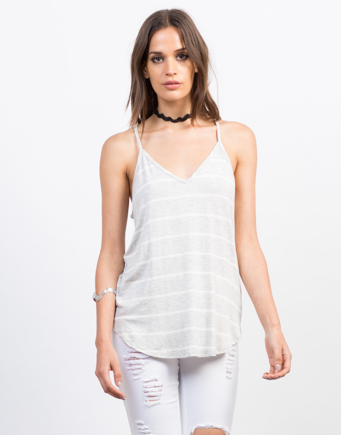 Front View of Striped Cami Tank