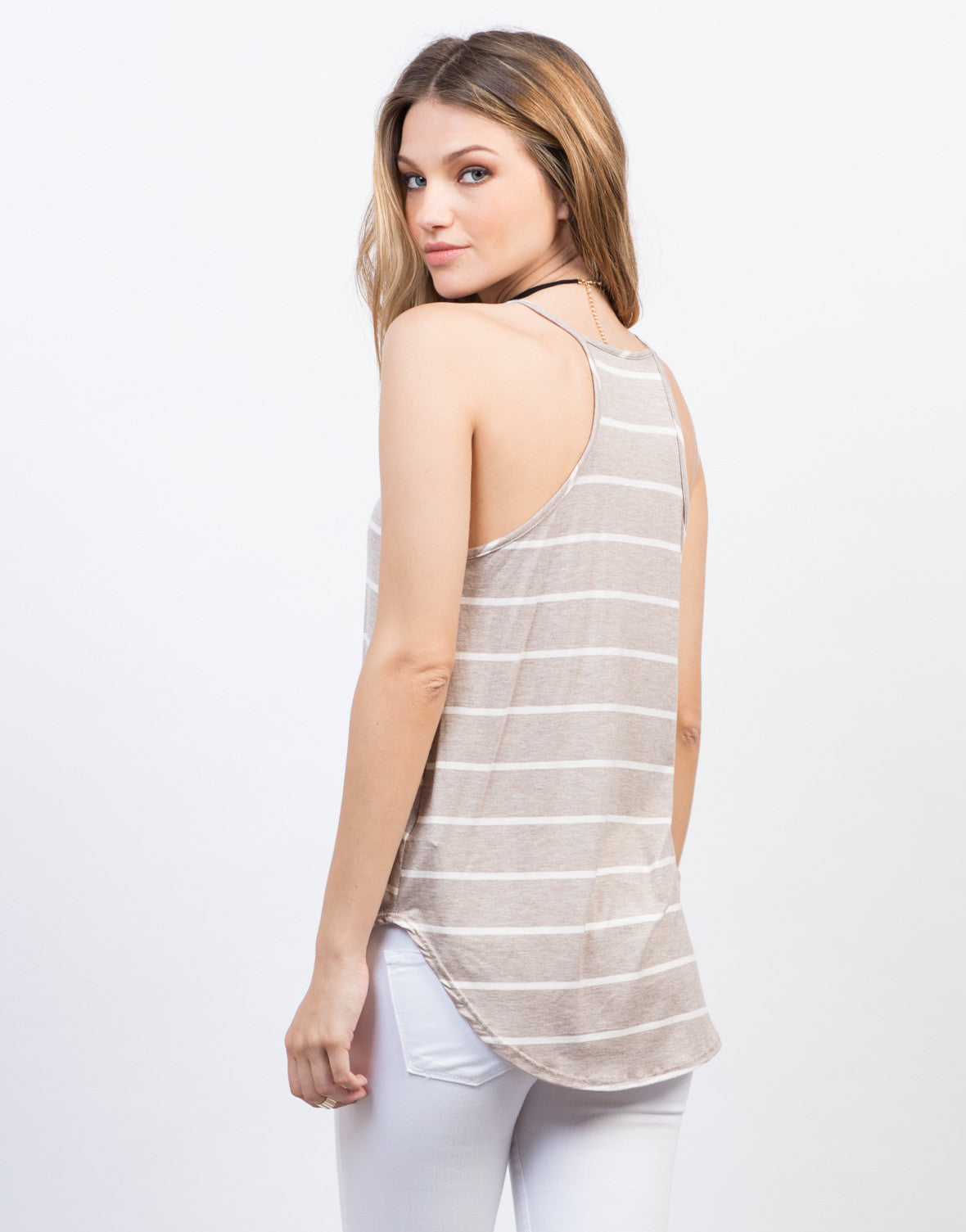 Back View of Striped Cami Tank