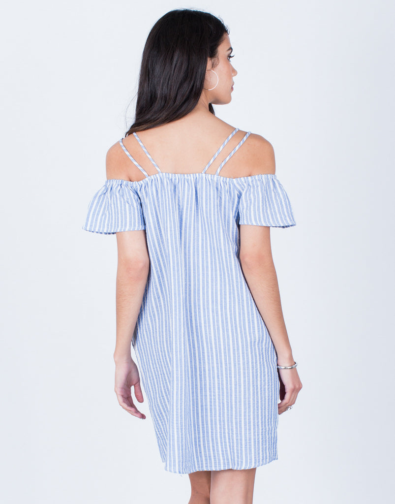 Back View of Striped Cold Shoulder Dress