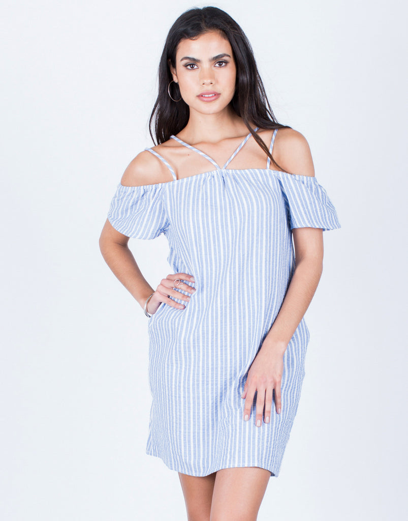Front View of Striped Cold Shoulder Dress
